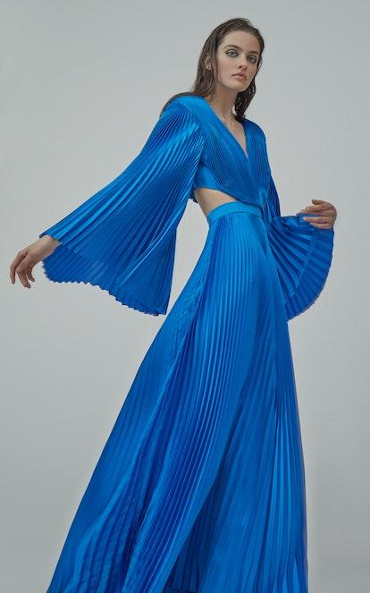 Azure Blue Plisse Jumpsuit