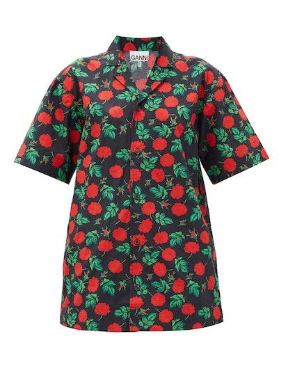 Rose-Print Cotton Shirt