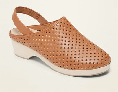 Perforated Faux-Leather Clog Shoes