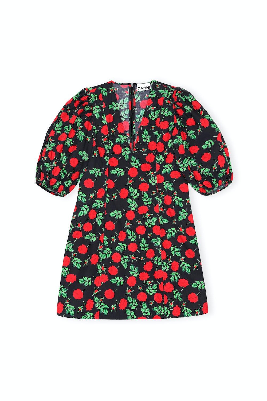 Rose-print V-neck cotton mini dress