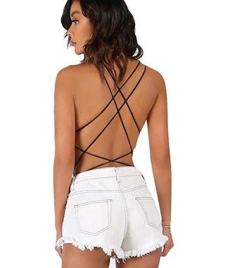Verdusa Sleeveless Scoop Neck Strappy Backless Bodysuit
