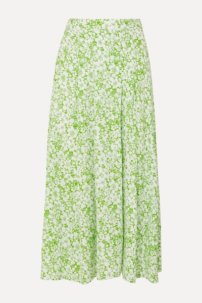 Faithfull the Brand Cuesta Pleated Floral-Print Crepe Midi Skirt