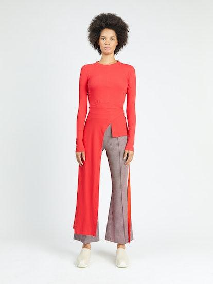 Long Sleeve Apron-Wrap T-Shirt