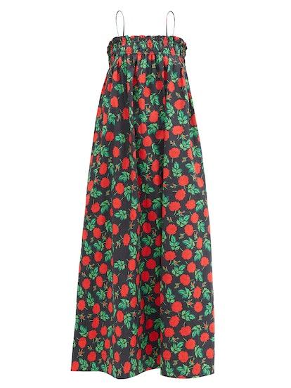 Shirred Rose-Print Cotton Midi Dress