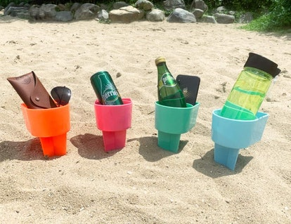 Home Queen Beach Cup Holder with Pocket (4-Pack)