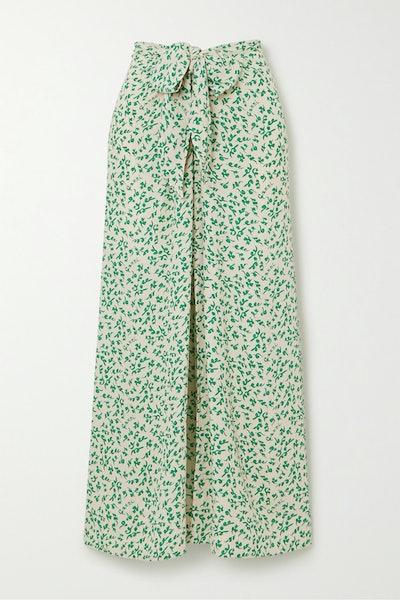 Ganni Tie-Front Floral-Print Crepe Midi Skirt