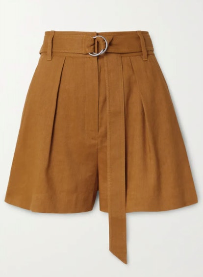 Belted pleated linen-blend shorts