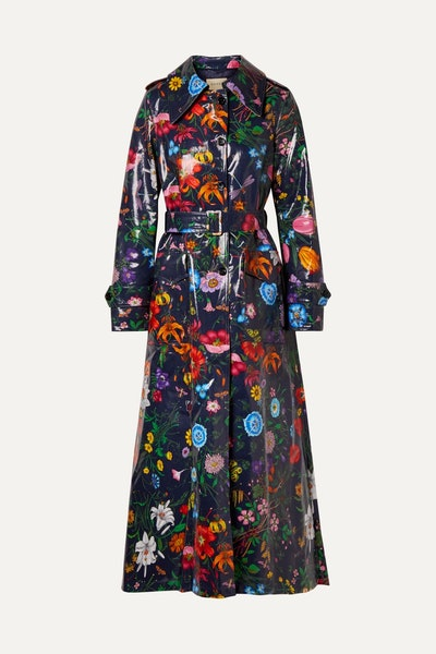 Oversized Floral-Print Trench