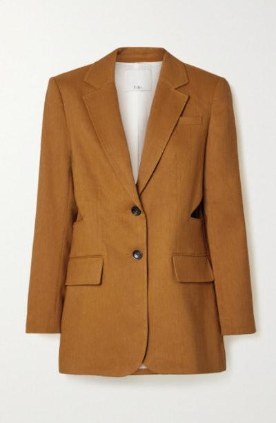 Cutout linen-blend blazer