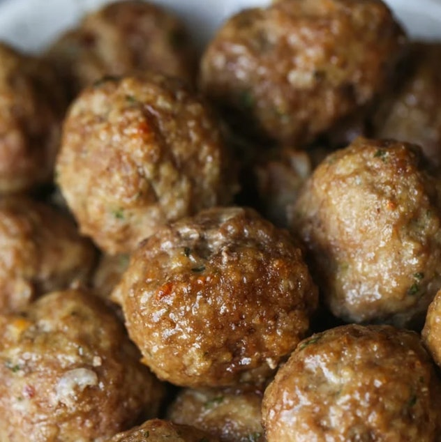 close up of a pile of meatballs