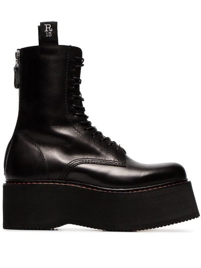 Double Stack Lace-Up Leather Boots