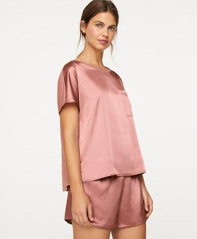 Two-fabric satin T-shirt
