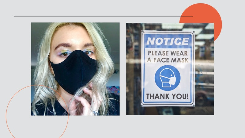 Side by side image of writer wearing a face mask and a pastel coloured eye-makeup look and a second image of a notice in a shop requesting the wearing of masks
