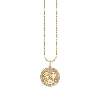 Gold & Pavé Diamond Protection Medallion