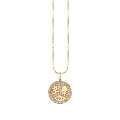 Gold & Pavé Diamond Protection Medallion