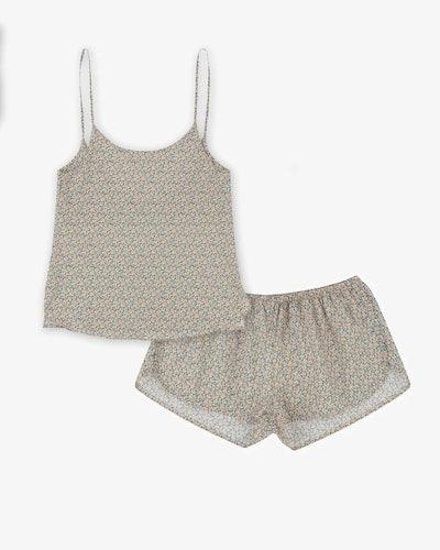 Woven cami top and pyjama shorts set made with liberty fabric