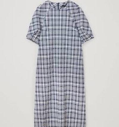 Cotton Checked Seersucker Dress