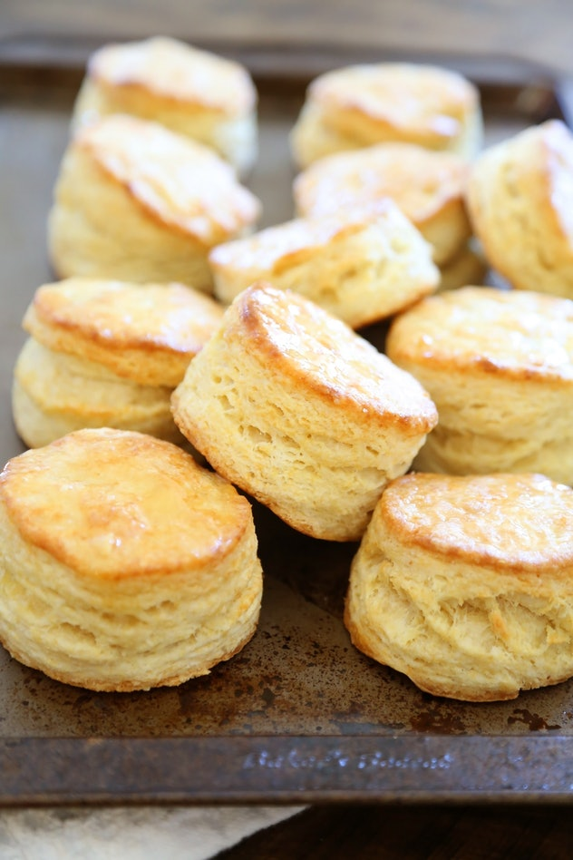 Closeup of a pile of fresh baked buttermilk biscuits