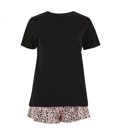 Black Shorts Leopard Print Pyjama Set