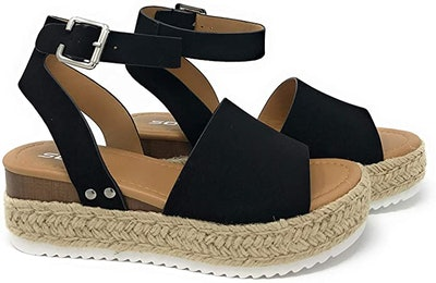 Soda Womens VALETT Open Toe Casual Ankle Strap Sandals