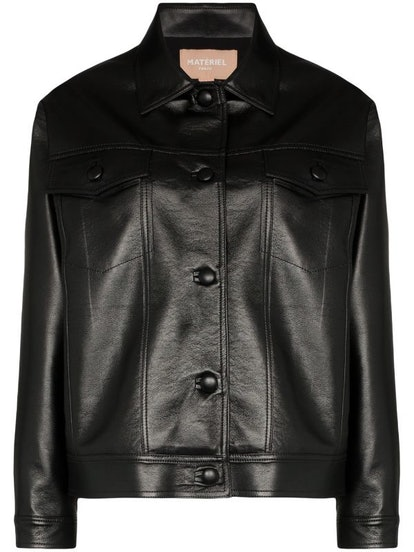 Faux Leather Button Up Jacket