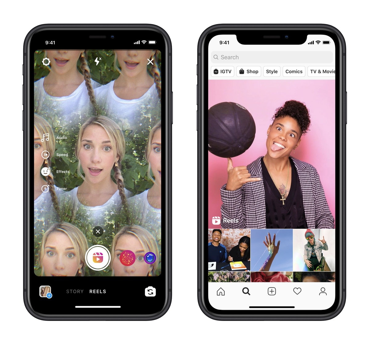 Instagram's new Reels feature lets you use customized audio.