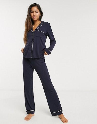 Lindex Exclusive Chris Eco Viscose long pyjama bottoms in navy