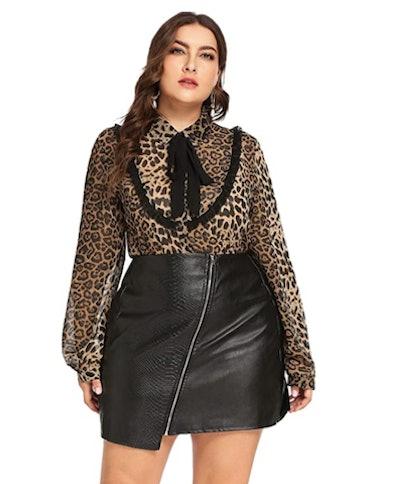 Romwe Plus Size Leopard Chiffon Blouse
