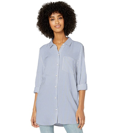 Goodthreads Women's Modal Twill Long-Sleeve Button-Front Tunic Shirt