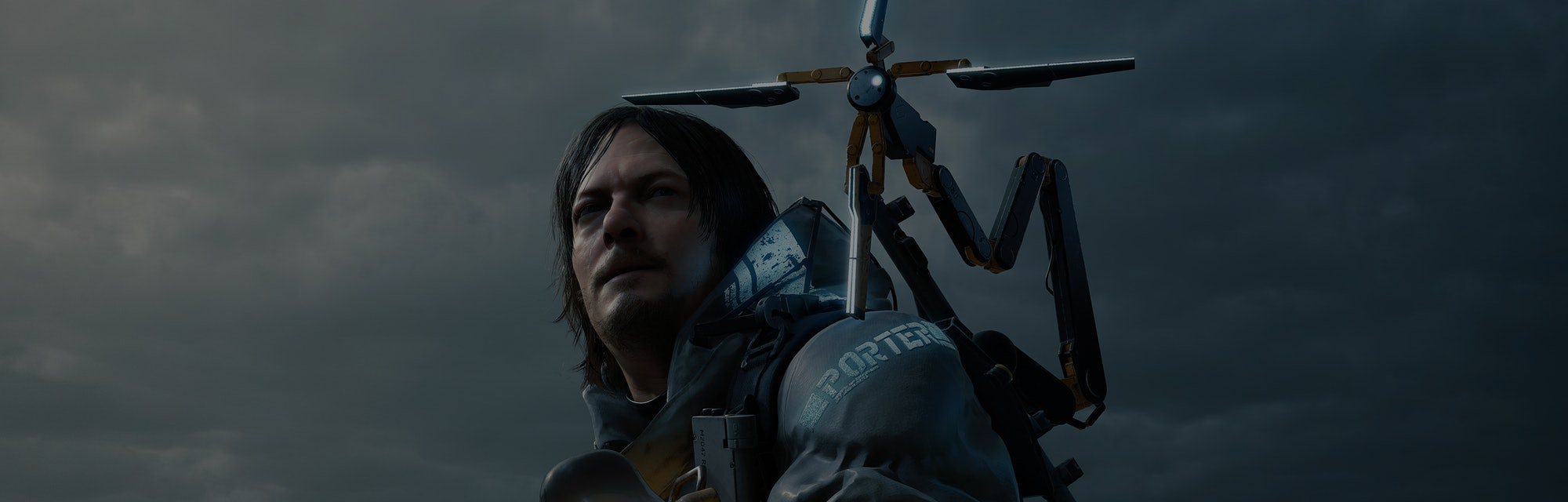 A screencap of the main character from the game Death Stranding.