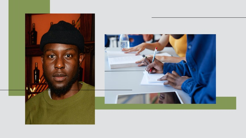 Caleb Femi and an image of children writing at school