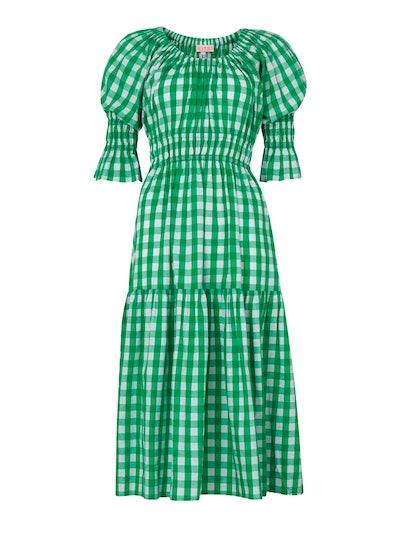 Margot Green Check Midi Dress