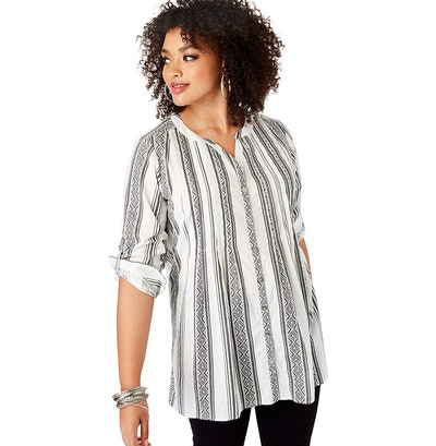 Roamans High-Low Pintuck Tunic
