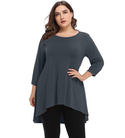 LARACE 3/4 Sleeve Loose Fit Flare Swing Tunic