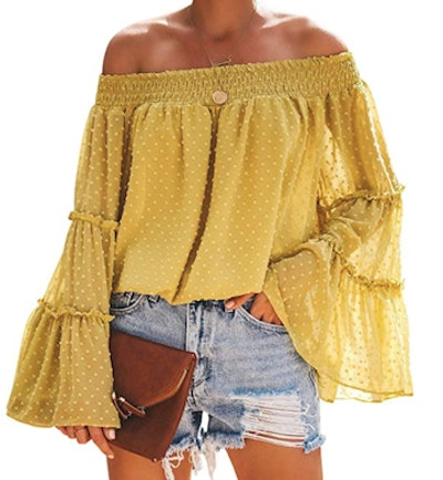 RXRXCOCO Off-The-Shoulder Chiffon Bell-Sleeve Shirt
