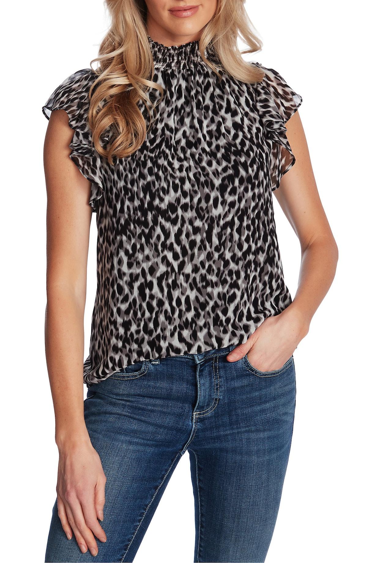 1. State Leopard Print Flutter Sleeve Blouse