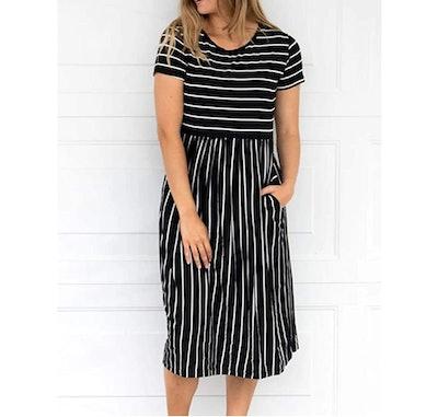 MEROKEETY High Waist Midi Dress