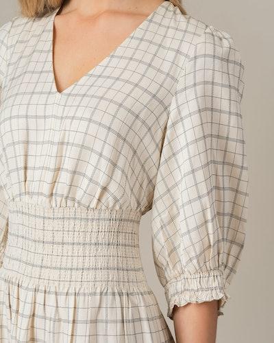 Pin Check Linen Tiered Dress