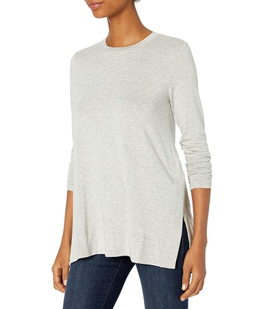 Daily Ritual Soft Rayon Jersey Long-Sleeve Split-Hem Tunic