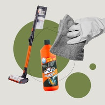A composite image of a vacuum cleaner, mr muscle drain unblocker, and a washing up gloved-hand with a cloth