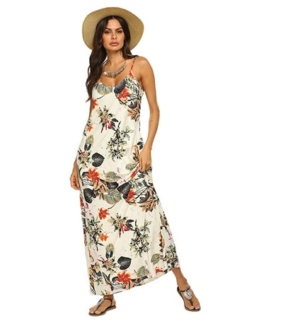 OURS Women's Summer Floral Maxi Dress with Pockets