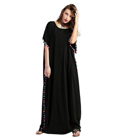 Floerns Women's Pom Pom Trim Kaftan Dress