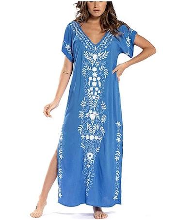 Bsubseach Embroidery Short Sleeve Beach Dress