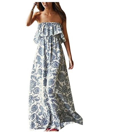 Yidarton Women Strapless Boho Maxi Dress