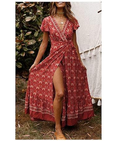 ZESICA Women's Bohemian Floral Printed Wrap