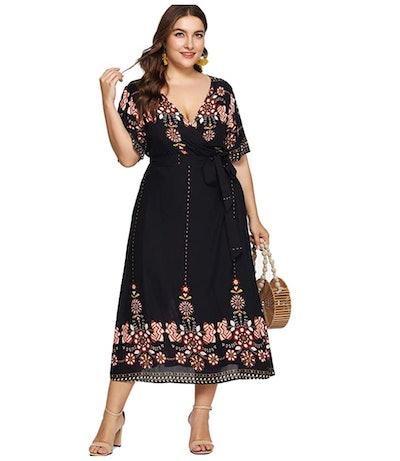 Milumia Women Plus Tribal Wrap Maxi Dress