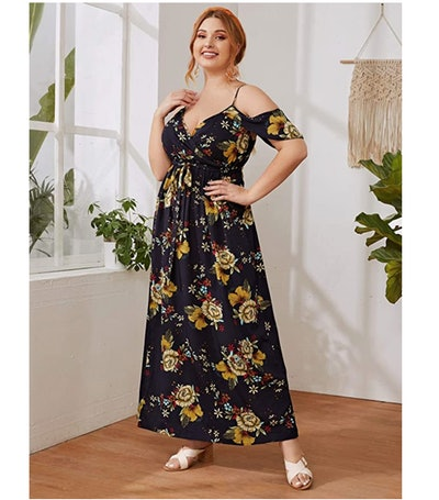 Milumia Plus Size Cold Shoulder Floral Maxi Dress