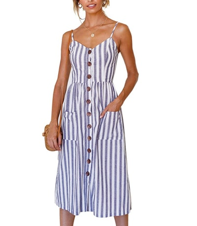 Angashion Women's Button Down Swing Midi Dress with Pockets