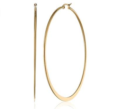 Amazon Essentials Plated Stainless Steel Flattened Hoop Earrings