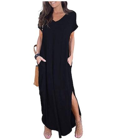 GRECERELLE Women's Loose Casual Split Maxi Dress